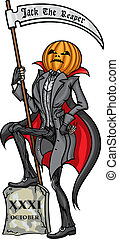 Halloween Pumpkin Head Jack Reaper - Illustration Pumpkin...