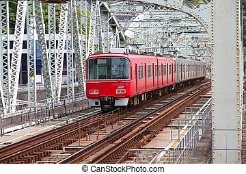 Red train - Inuyama, Japan - town in Aichi prefeture of the...