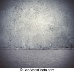 Vintage room background - Empty gray dark vintage room...