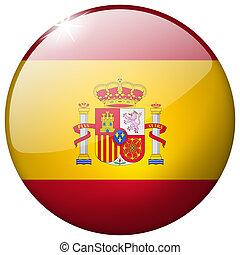 Spain Round Glass Button