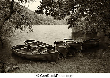 Sepia retro style picture of derelict boathouse and rowing...