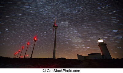 wind turbine with milky way 5 - wind turbines generating...