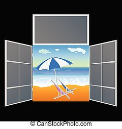 view from the window on the paradise beach vector illustration