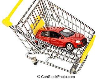 car in cart - a car in the shopping cart as a symbol for car...