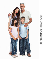 Portrait of a cute family on white background