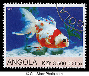 ANGOLA - CIRCA 2000: stamp printed by Angola shows Goldfish,...