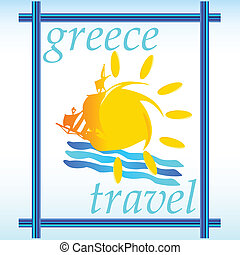 greece travel in the frame vector illustration