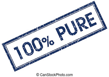 100% pure blue square stamp