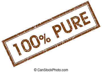 100% pure brown square stamp
