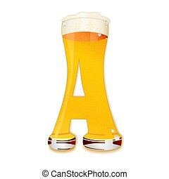BEER ALPHABET letter A - Very detailed illustration of a...