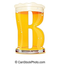 BEER ALPHABET letter B - Very detailed illustration of a...
