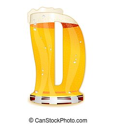 BEER ALPHABET letter D - Very detailed illustration of a...