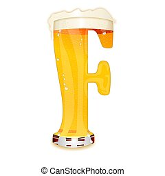 BEER ALPHABET letter F - Very detailed illustration of a...