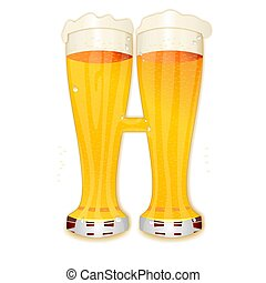 BEER ALPHABET letter H - Very detailed illustration of a...