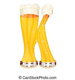 BEER ALPHABET letter K - Very detailed illustration of a...