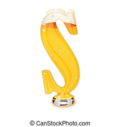 BEER ALPHABET letter S - Very detailed illustration of a...