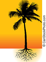 Palm tree vector background space for text