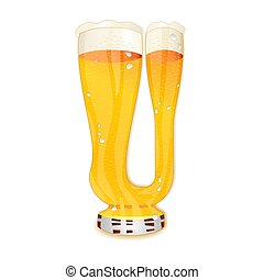 BEER ALPHABET letter U - Very detailed illustration of a...