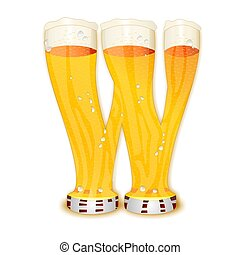 BEER ALPHABET letter W - Very detailed illustration of a...