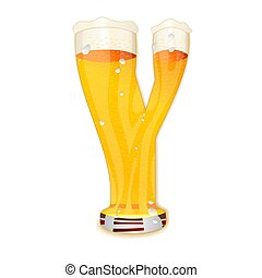 BEER ALPHABET letter Y - Very detailed illustration of a...
