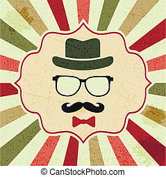background with hipsters hat, glasses, moustache - seamless...