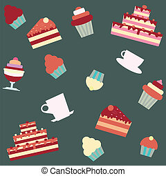 background with cakes and desserts