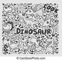 doodle dinosaur element