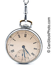 Old pocket watch with chain isolated on white