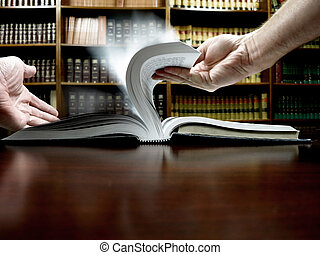 Flipping Pages in Book - Person reading book and flipping...