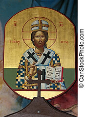 Religion - Ancient Jesus icon in the Qurantul Christian...