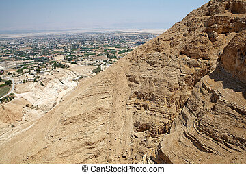 Jericho cityscape from the moun of the Temptation, Jericho,...