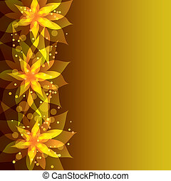 Floral golden background with stylish flower