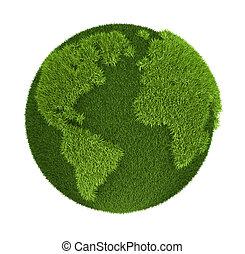Grass Globe - atlantic ocean side, isolated on white...