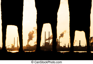 See through industry - Look, through the 'legs' of a statue...