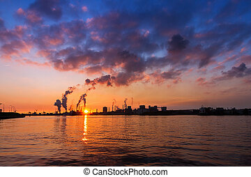 Vibrant industry - Sunset view of the heavy industry with...