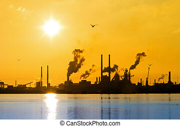 Blue water industry - Sunset view of the heavy industry with...