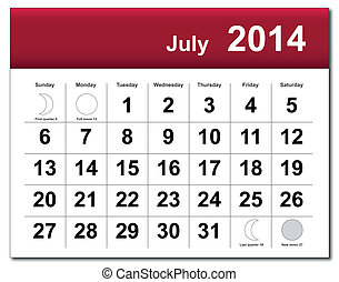 July 2014 calendar - EPS10 vector file July 2014 calendar...