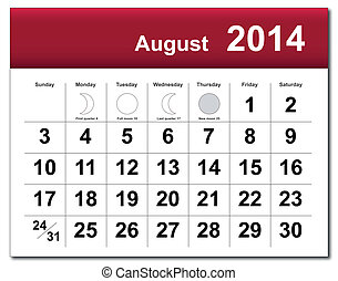 August 2014 calendar - EPS10 vector file August 2014...