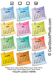 Colorful Calendar for 2009. Made of sticky notes. With Space...