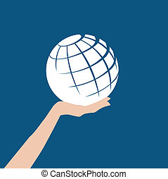 Globe in hand - A white abstract globe is held in a hand...