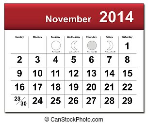 November 2014 calendar - EPS10 vector file. November 2014...