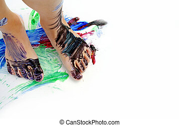 Painted Child's Feet on Paper