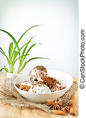scoops of ice cream with nuts and chocolate, good for your menu design