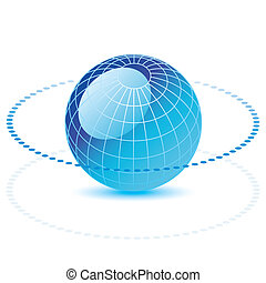 globe with a dotted line - Blue vector globe with a dotted...