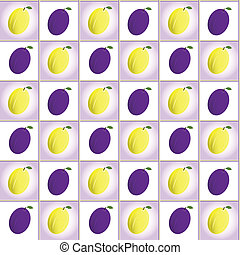 plums pattern - Ripe plums pattern, vector background