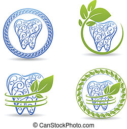 Teeth set - Abstract tooth design Beautiful design with...