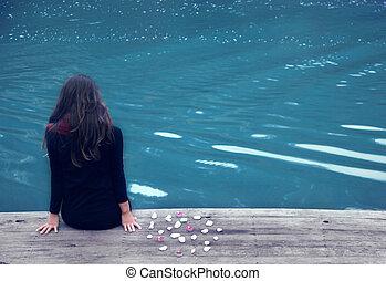 meditation - lake women photo