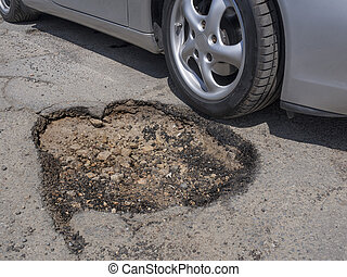 Pothole avoidance - Car wheel avoiding big pothole as a...