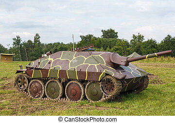 German self-propelled gun Hetzer on the field