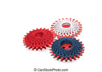 three spools - spools with colorful yarn isolated on white...
